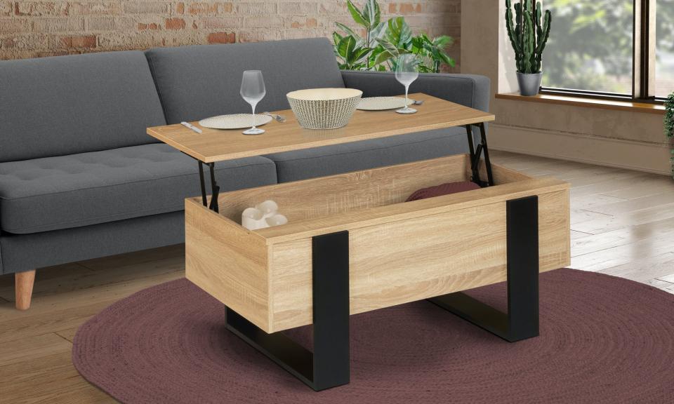 Table basse relevable Brixton bois/noir