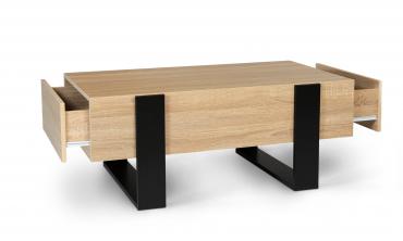 Table basse avec tiroirs bois/noir Brixton