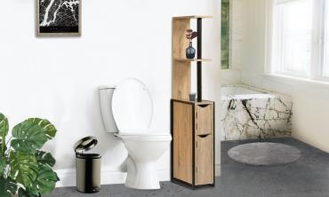 Etagère WC 2 portes bois/métal Timeo