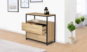 Commode 2 tiroirs + 1 étagère Manufacture