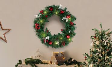 Couronne Noël 60cm avec led
